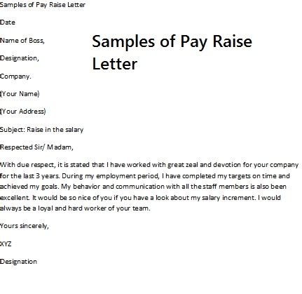 Pay Raise Request Letter Exles Sle Of Pay Raise Letter