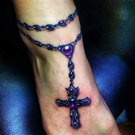 rosary cross ankle tattoo purple