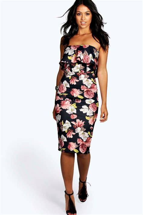 seline dress seline bandeau floral detail bodycon dress at boohoo