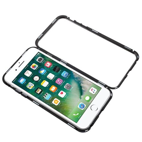 iphone  pluss  magnetic case  tempered glass