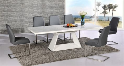 White Gloss Extendable Dining Table White High Gloss Extending Dining Table And 8 Grey Chairs Set