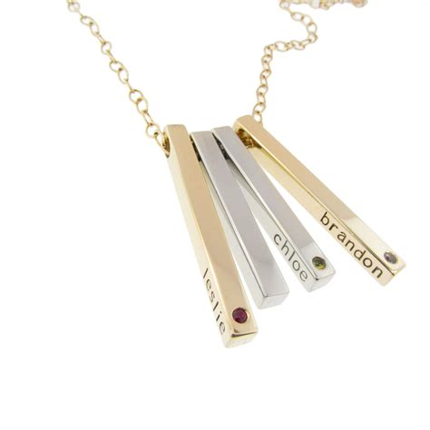 Solid Gold Birthstone Mommy Jewelry 14K Bar with Diamonds Hand