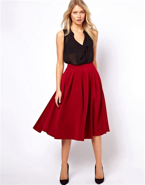 asos asos midi skirt with box pleats at asos