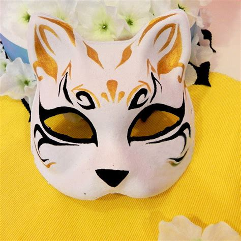 half face hand painted japanese fox mask kitsune cosplay
