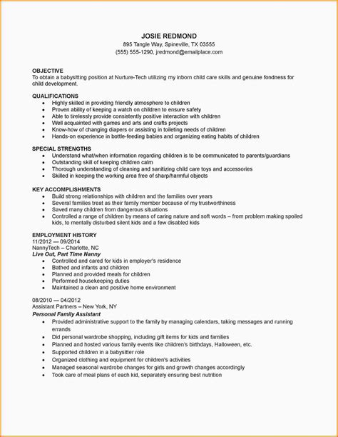 sle template for resume babysitting resume templates 28 images babysitting