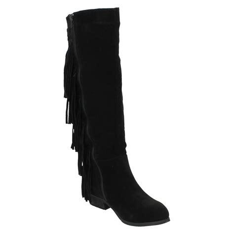 knee high fringe boots spot on boots knee high fringe trim ebay