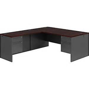 Hon L Shaped Desk Hon 38000 Series L Shaped Office Desk Mahogany Charcoal Staples 174