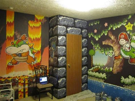 zelda themed bedroom room transformed with beautiful super mario murals