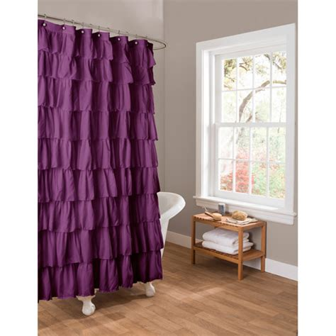 purple ruffle shower curtain essential living ruffle purple shower curtain walmart com