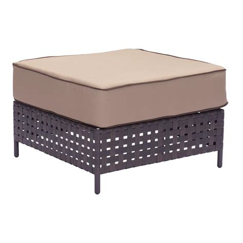 Martha Stewart Ottoman Martha Stewart Living Charlottetown Brown All Weather Wicker Patio Ottoman With Green Bean