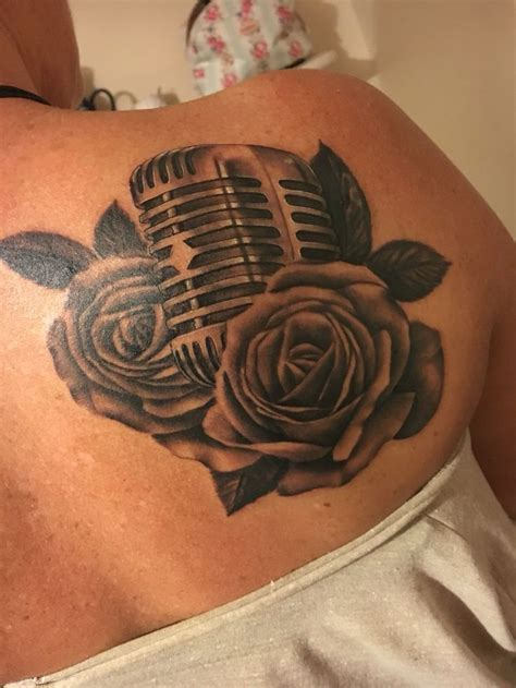 microphone and roses tattoo 9 best tattoos by robin pajzs tattooing images on