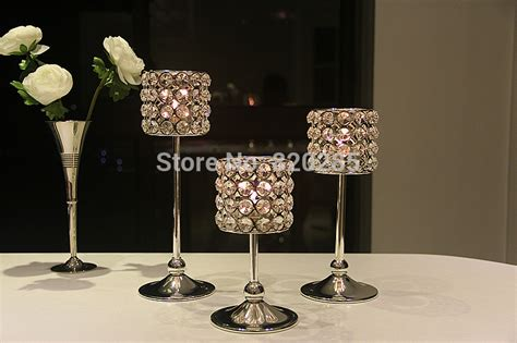 Metal Candle Holders Centerpieces Free Shipping Metal Silver Finish Candle Holder With