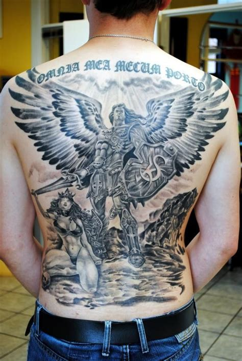 grey ink angel tattoos on man full back tattooshunt com