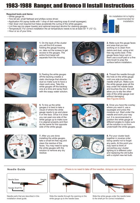 motor repair manual 1988 ford ranger instrument cluster 1983 1988 ford ranger bronco ii dash cluster white face gauges 83 88 ebay