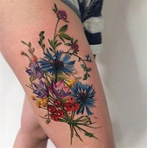 wildflower tattoo best 25 flower thigh tattoos ideas on side of