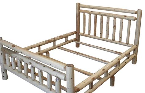 Log King Bed Frame Rustic White Cedar Log Bed Frame King Rustic Panel Beds By Furniture Barn Usa