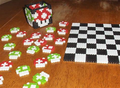cool melty bead designs mario perler checkers set