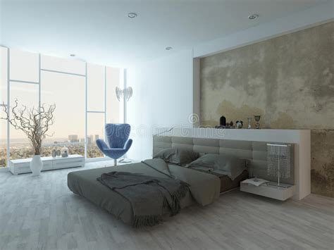modern factory style bedroom interior  concrete wall
