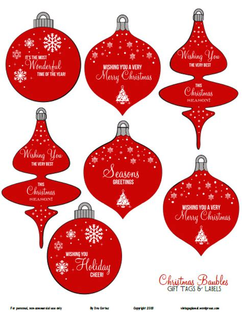 printable christmas ornament tags free printable download christmas ornaments gift tags