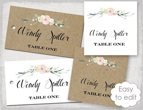 Diy Wedding Name Card Template by Rustic Name Card Template Quot Rustic Flowers Quot Blush Pink