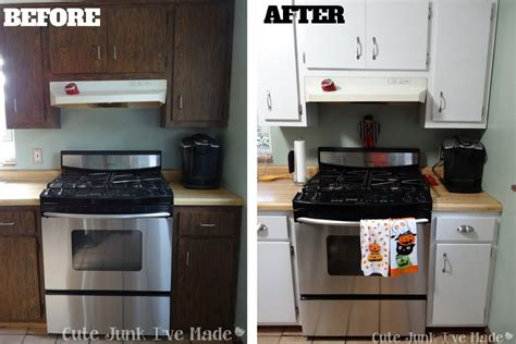 Spray Painting Kitchen Cabinets by Cute Junk I Ve Made How To Paint Laminate Cabinets Part