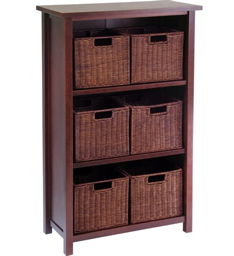 bookcase with wicker baskets in bookcases
