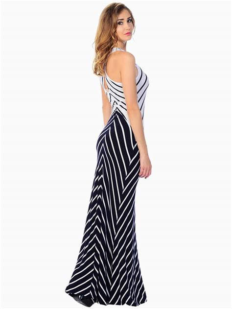 Striped Maxi Dress striped crossed back maxi dress modishonline