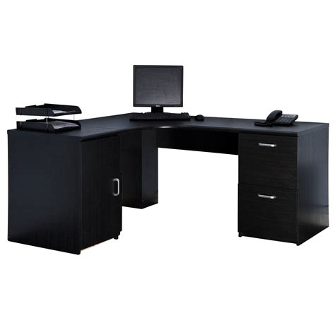 Marino Black Computer Corner Desk Workstation Pedestals Desk Black