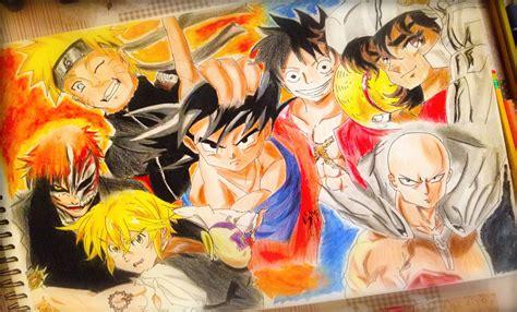 imagenes de goku naruto y luffy dibujando personajes de animes shonen goku naruto