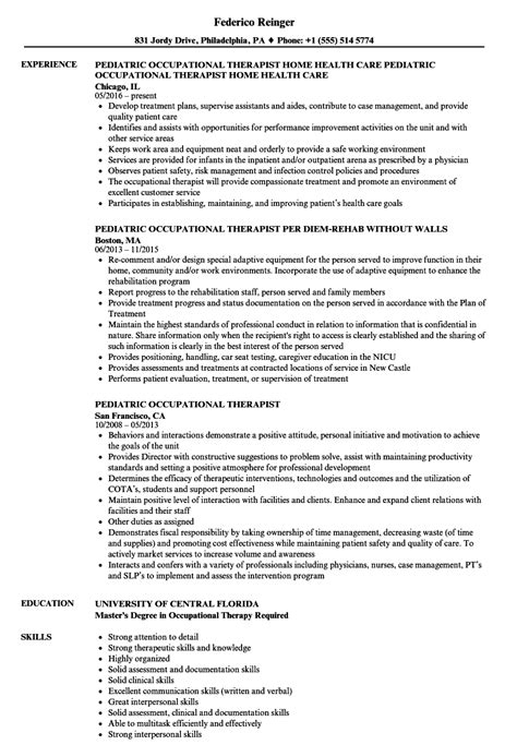 Pediatric Occupational Therapist Cover Letter by Pediatric Occupational Therapist Resume Resume Ideas