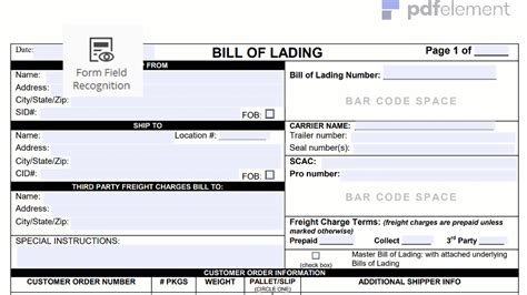 bill of lading form template bill of lading form template free create fill