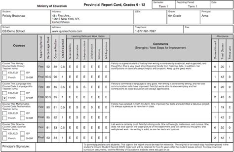 semester report card template the ontario province report card template school