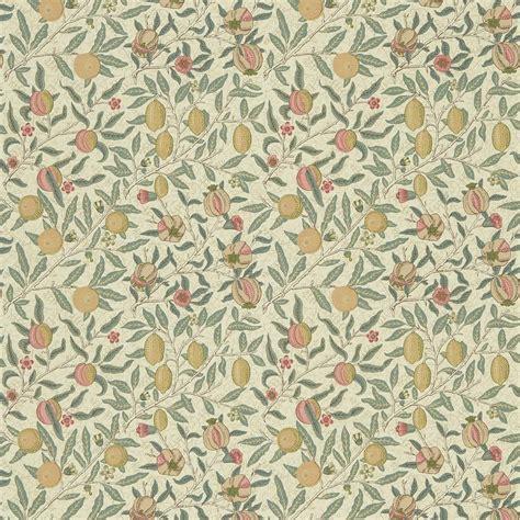 Arts And Crafts Homes Interiors Fruit Fabric Cream Teal Dmc1fu205 William Morris