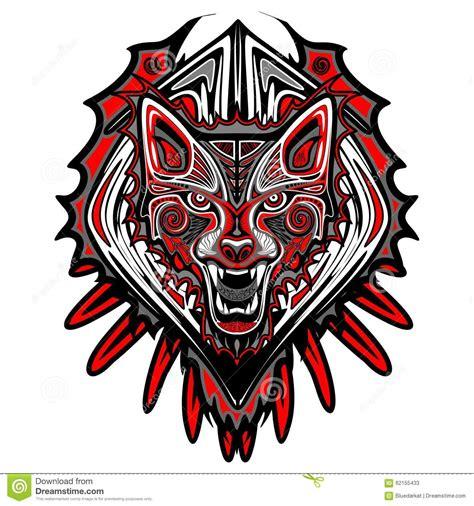 wolf tattoo style haida art stock vector image 62155433