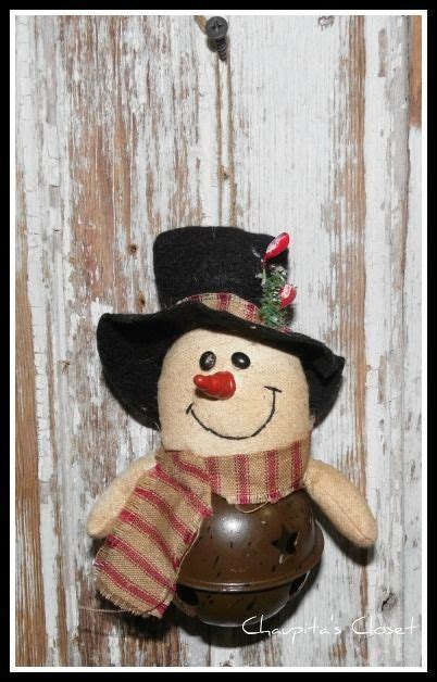 Snowman Home Decor by Primitive Bell Snowman Ornament Country
