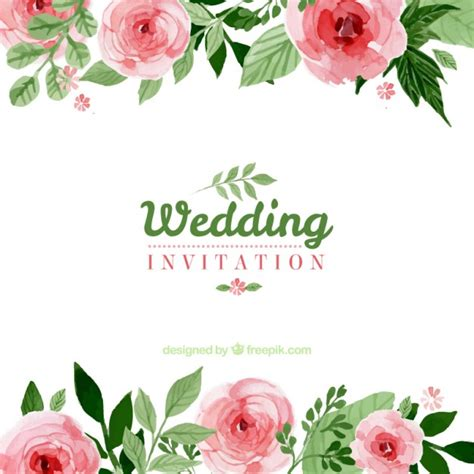 Wedding Flower Vector by Floral Wedding Invitation Vector Free
