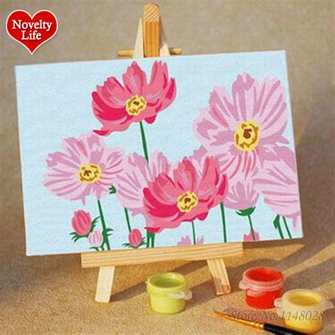 Small Home Decor Diy Diy Small Frame Picture Painting By Numbers Pink Flower