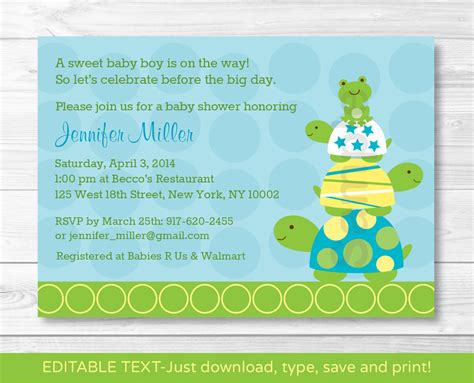 Frog Baby Shower Invitations by Turtle Frog Baby Shower Invitation Turtle Baby Shower