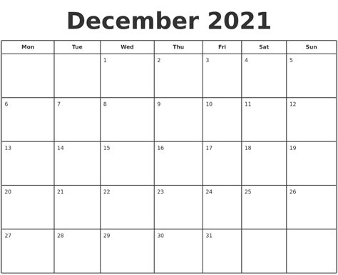 printable calendar december december 2021 print a calendar