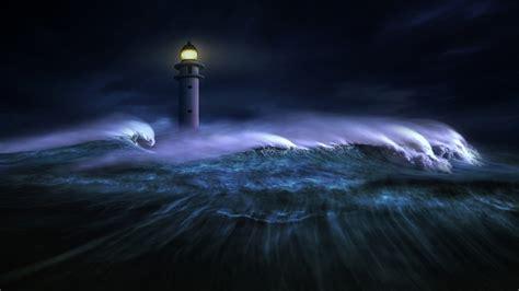 desktop wallpaper lighthouse big sea waves night hd