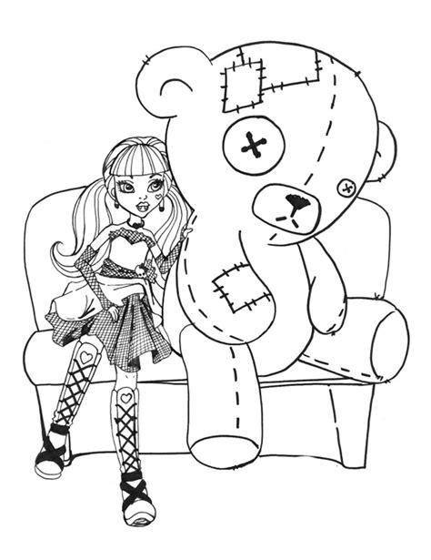 Dibujos para colorear Monster High Draculaura con oso