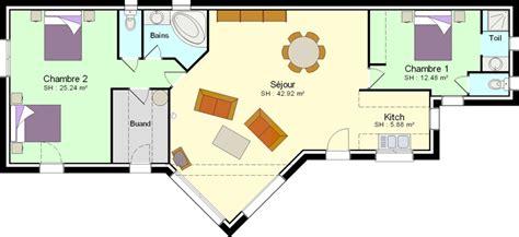 plan maison 2 chambres plain pied faire construire une maison avec 2 chambres plans