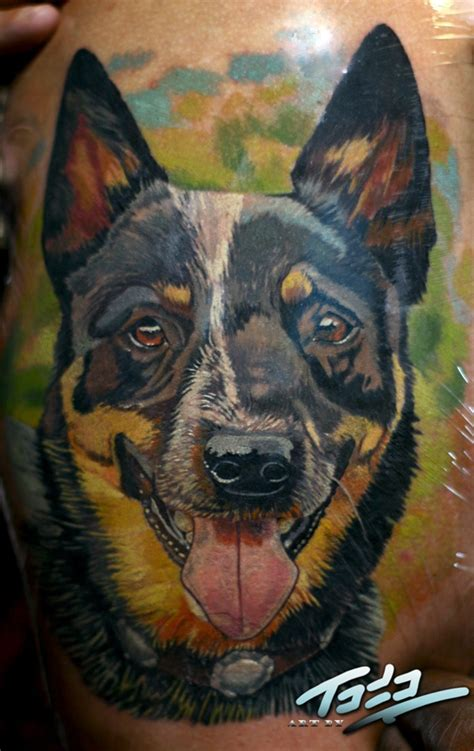 tattoo numbers on dogs blue healer portrait by abttattoo tattoos by todo