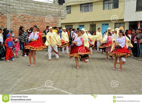 mama negra festival ecuador girls are dancing at la fiesta de la mama negra editorial