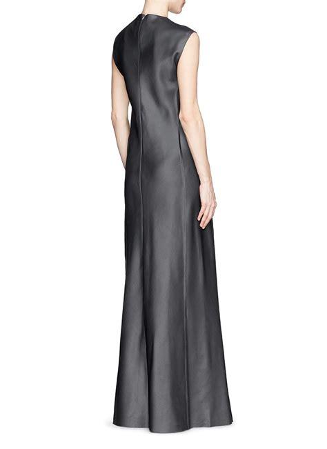 Gray Silk Dress 20738gym lyst the row ceri wool silk satin maxi dress in