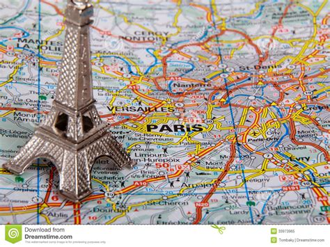 Map A4 Bunga Eiffel 10 eiffel tower on a map of stock image image 33973965