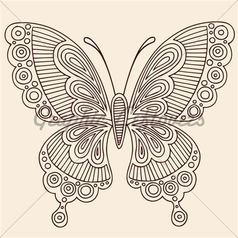 henna outline butterfly vector illustration design element