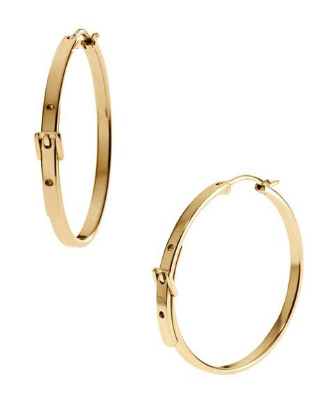 michael kors buckle hoop earrings in metallic lyst