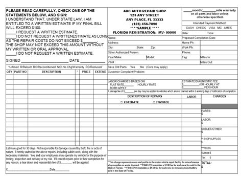 written estimate template carbonless forms ncr executive printers of florida