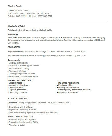 billing coding resume sle entry level coder resume cover letter